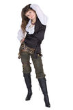 Pirate - young woman isolated on white Royalty Free Stock Images