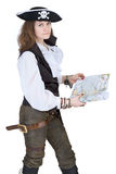 The pirate - young woman with map Royalty Free Stock Photo