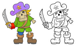 Pirate zombies with a sword stock illustration
