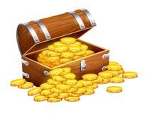 Piratea el pecho del tronco por completo de los tesoros de las monedas de oro Imagen de archivo