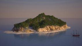 Piratea la isla en el mar Foto de archivo libre de regalías