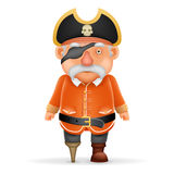 Piratee a capitán Funny Old Grandfather que señala los pulgares encima del vector aislado realista del diseño de personaje de dib Fotografía de archivo libre de regalías