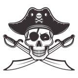 Piratee el cráneo en el sombrero, ejemplo del vector del parche de ojo libre illustration