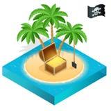 Piratee el tesoro en una playa tropical con las palmeras y los tesoros Imagen de archivo libre de regalías