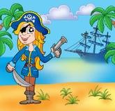 Piratee a la muchacha en la playa 3 ilustración del vector