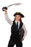 Piratee la muchacha que sostiene el bolso y la espada aislada encendido Imagenes de archivo