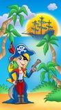 Piratee a la mujer con el loro y el barco ilustración del vector