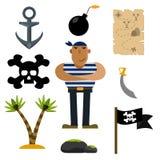 Piratee los iconos, pirata, ejemplo de los sistemas del icono ilustración del vector