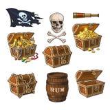 Piratee los objetos, cofres del tesoro, bandera, barril del ron ilustración del vector