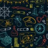 Pirateia a ilustração sem emenda do vetor do teste padrão ilustração royalty free