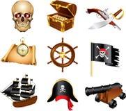 pirateia o grupo detalhado ícones Imagem de Stock Royalty Free