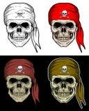 Pirateie o desenho da mão do crânio com cor de 4 variações Fotografia de Stock Royalty Free