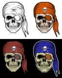 Pirateie o desenho da mão do crânio com cor de 4 variações Imagens de Stock Royalty Free