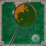 Pirateie o mapa da terra desconhecida com rendição da lupa 3d Imagem de Stock