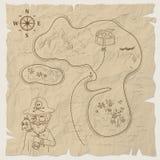 Pirateie o mapa do tesouro da ilha no papel velho Vetor Fotos de Stock