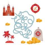 Pirateie o tesouro, jogo bonito do labirinto da coleção dos objetos do mar para crianças prées-escolar Vetor Imagens de Stock Royalty Free