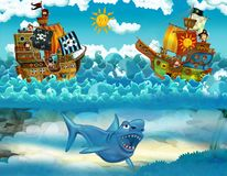 Piraten auf der Seeschlacht - mit dem Monster Unterwasser Stockbild