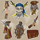 Piraten - ein Hand gezeichneter farbiger kein Vektorsatz 1 Lizenzfreie Stockbilder