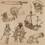 Piraten - ein Hand gezeichneter Vektorsatz Stockfotos