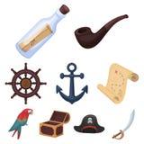 Piraten geplaatst pictogrammen in beeldverhaalstijl Royalty-vrije Stock Fotografie