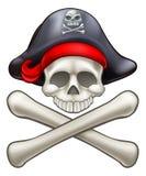 Piraten-Hut-Karikatur-Totenkopf mit gekreuzter Knochen Lizenzfreies Stockfoto