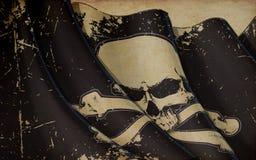 Piraten Jawless Schädel und Knochen, die Flaggen-altes Papier wellenartig bewegen stock abbildung