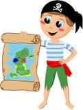 Piraten-Junge, der Schatz-Karte zeigt Stockfoto