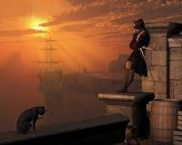 Piraten-Kapitän bei Sonnenuntergang Stockbild