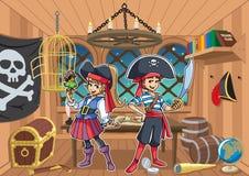 Piraten-Kinder in der Kabine stock abbildung