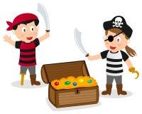 Piraten-Kinder mit Schatz-Kasten Stockbild