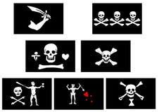 Piraten-Markierungsfahnen Stockfoto