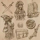 Piraten (nein 4) - ein Hand gezeichneter Vektorsatz Stockfotos