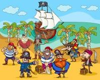 Piraten op het beeldverhaal van het schateiland Stock Afbeeldingen