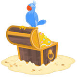 Piraten-Papagei und Schatz Lizenzfreie Stockfotos