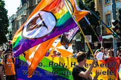 Piraten Partei (pirate party) is participating on Christopher Street Day Stock Photography