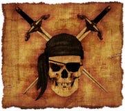 Piraten-Schädel auf altem Pergament Stockfotos