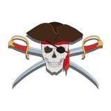 Piraten-Schädel mit Klingen Lizenzfreies Stockbild