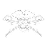 Piraten-Schädel mit Klingen Stockfotos