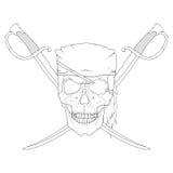 Piraten-Schädel mit Klingen Lizenzfreie Stockfotos
