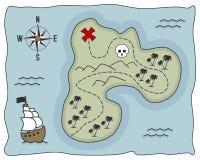 Piraten-Schatz-Insel-Karte Stockfotos