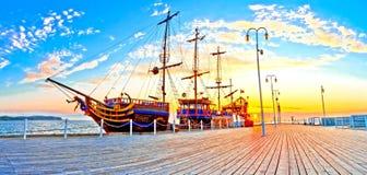 Piraten-Schiff auf der Ostsee in Sopot - Polen lizenzfreie stockbilder
