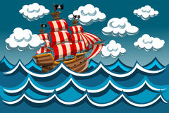 Piraten-Schiff im Sturm Lizenzfreies Stockfoto