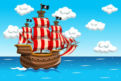 Piraten-Schiff-Seeozean Lizenzfreies Stockbild