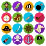 Piraten stellten Ikonen in der flachen Art ein Große Sammlung Piraten vector Illustration des Symbols auf Lager Stockfotos