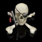 Piraten-Totenkopf mit gekreuzter Knochen Lizenzfreie Stockbilder