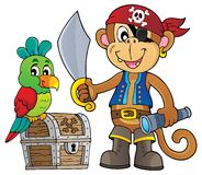 Piratenaffethema 1 lizenzfreie abbildung