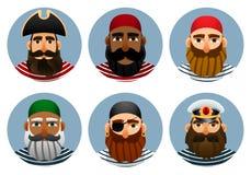 Piratenavatars inzameling Reeks portretten van zeelieden in een ronde vorm Stock Afbeeldingen