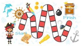 PiratenBrettspielschablone vektor abbildung