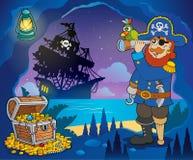 Piratenbucht-Themabild 3 vektor abbildung