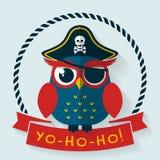 Pirateneule Prelambulator auf gestreiftem Hintergrund Stockbild